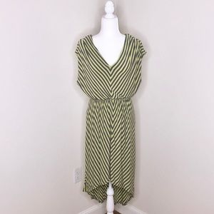 Light lime green and dark gray chevron print dress